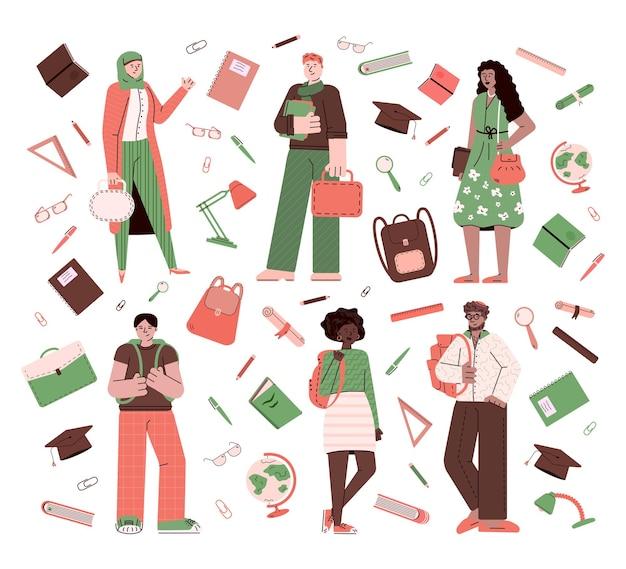 Estudantes multiétnicos e apartamento de papelaria