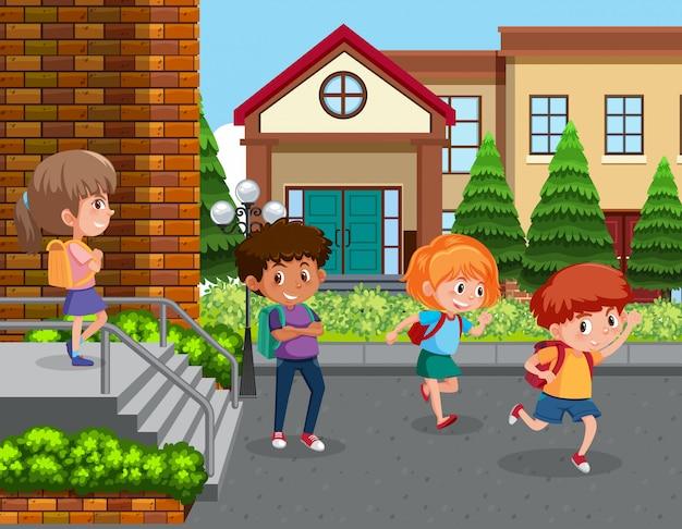 Estudantes no pátio da escola