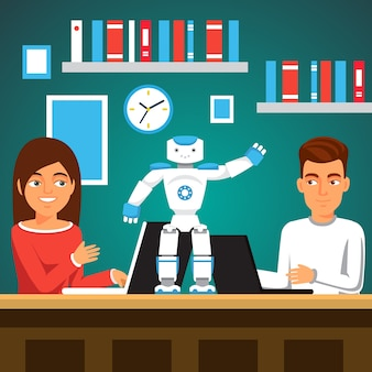 Estudantes que procuram o robô humanoide bipedal