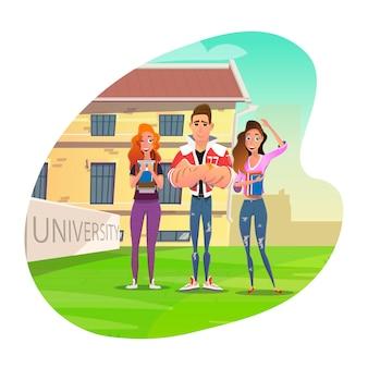 Estudantes universitários, aproveitando o tempo de estudo dos desenhos animados