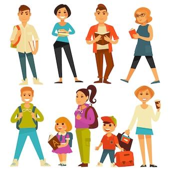 Estudantes universitários e alunos de escola adolescentes e crianças vector ícones planas