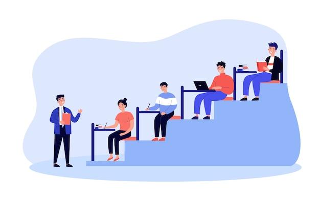 Estudantes universitários sentados na sala de aula escrevendo ou digitando em design plano