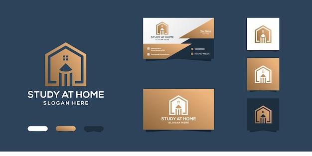 Estudar em casa design de logotipo e cartão de visita