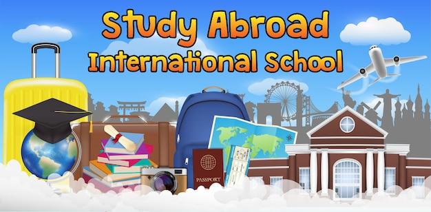 Estudar no exterior cartaz de banner de escola internacional
