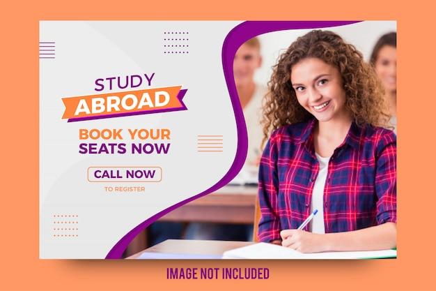 Estudar no exterior tema abstrato banner