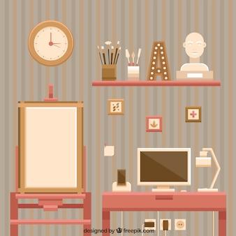 Estúdio artístico do vintage no design plano