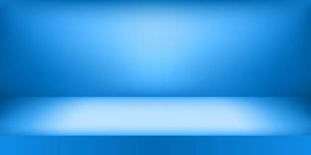 Estúdio azul vazio. plano de fundo da sala.