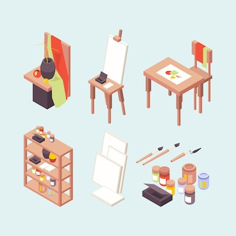 Estúdio de arte. artistas profissionais designers criadores itens cavaletes pincéis tintas pódio local de trabalho vetor isométrico. estúdio de arte profissional, ilustração escolar isométrica de pintura