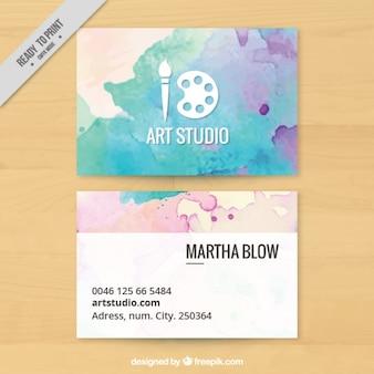 Estúdio de arte, cartão de visita pintado com aguarelas