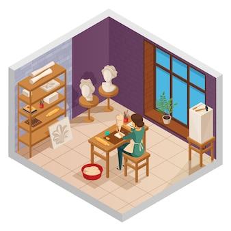 Estúdio de arte interior isométrica com escultor feminino na mesa com equipamento de amostras de treinamento e ilustração vetorial de janela