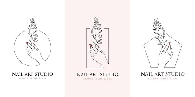 Estúdio de arte para unhas com logotipo floral de mãos e unhas