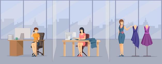 Estúdio de costura, ilustração plana do ateliê. trabalhadores da empresa de moda jovem, personagens de desenhos animados de equipe de oficina de costura.