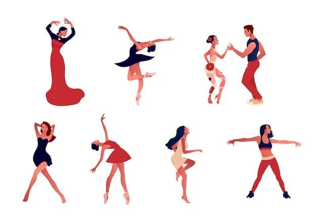Estúdio de dança. conjunto de mulheres felizes ativas positivas dançando. Vetor Premium