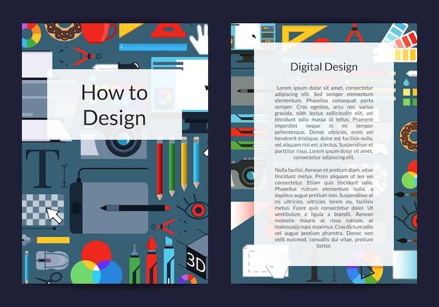 Estúdio de design de arte digital ou modelo de cartão ou folheto de cursos com instrumentos criativos em com lugar para texto