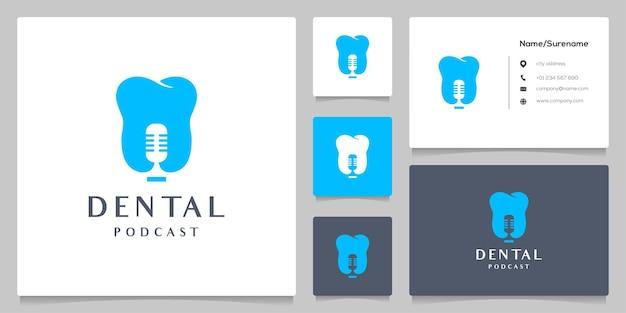 Estúdio de design de logotipo de podcast de microfone e dente dentário para atendimento médico com cartão de negócios