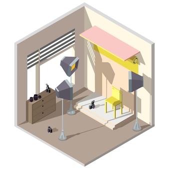 Estúdio de fotografia 3d isométrica. interior da arquitetura.