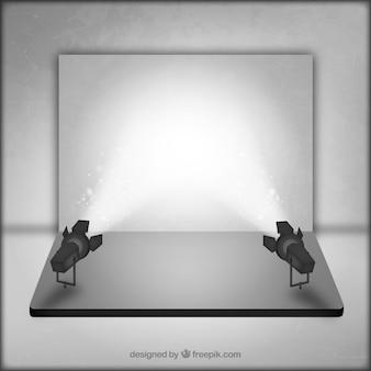Estúdio de fotografia com palco iluminado