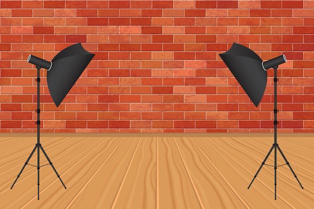 Estúdio de fotografia com parede de tijolos e ilustração do piso de madeira