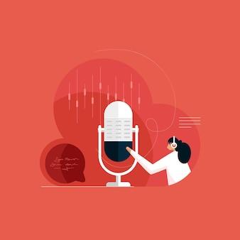 Estúdio de gravação com tecnologia de transmissão ao vivo no elemento de microfone podcast de rádio