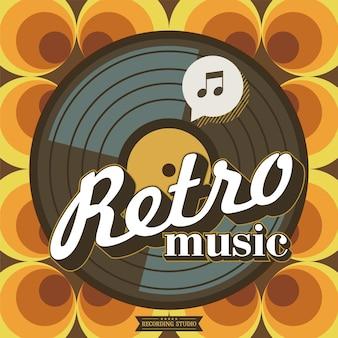Estúdio de gravação. música retro. o disco de vinil. cartaz de vetor em estilo retro.