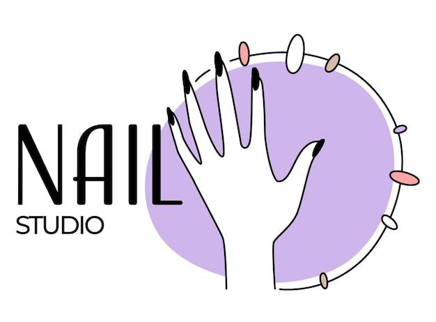 Estúdio de manicure ou salão de beleza para emblema de beleza de unhas