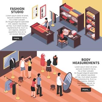 Estúdio de moda e medições corporais banners horizontais