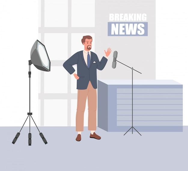 Estúdio de notícias de tv com emissora. ilustração vetorial