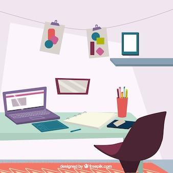 Estúdio de obras de arte em design plano