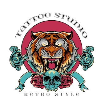Estúdio de tatuagem de tigre em estilo retrô