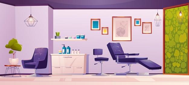 Estúdio de tatuagem ou sala vazia no interior do salão de beleza