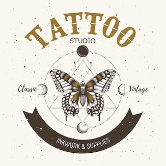 Estúdio de tatuagem. tatuagem clássica e vintage.