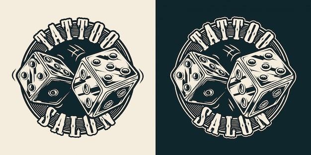 Estúdio de tatuagem vintage redondo impressão
