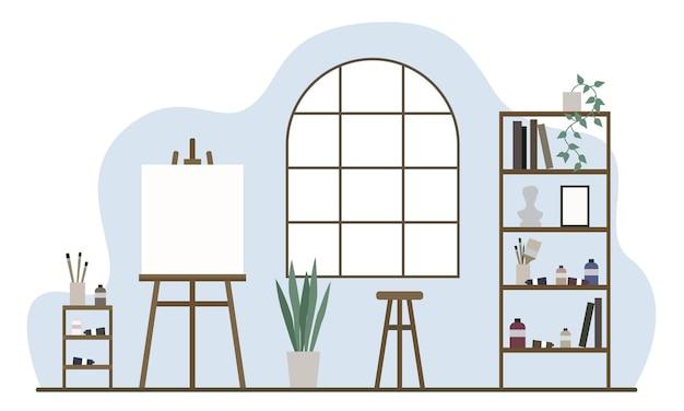 Estúdio e local de trabalho para o artista. quarto com interior clássico. mínimo plano