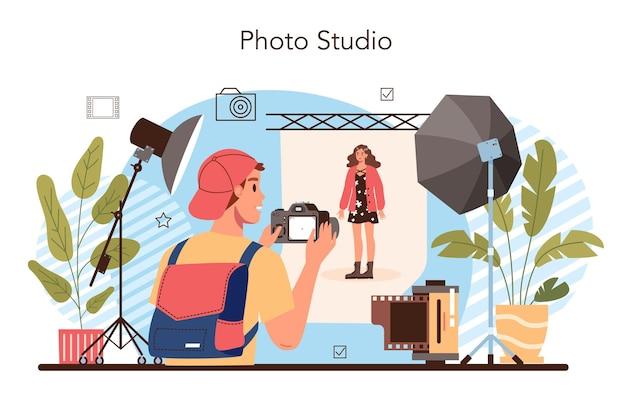 Estúdio fotográfico. alunos aprendendo a tirar fotos, configuração de iluminação e edição de fotos