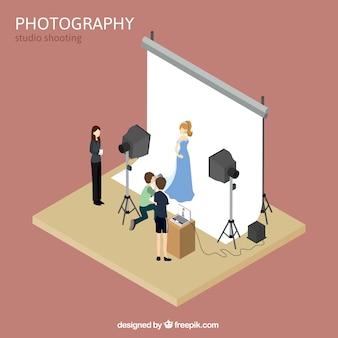 Estúdio fotográfico com a modelo e fotógrafo