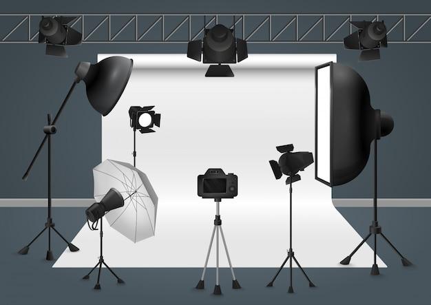Estúdio fotográfico com câmera, projetor de flash de equipamento de iluminação, ilustração de softbox.