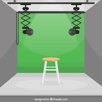 Estúdio fotográfico com cor verde