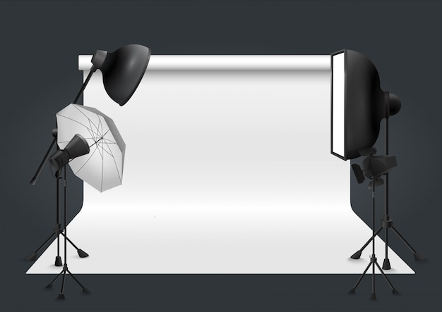 Estúdio fotográfico com equipamento de iluminação. ilustração vetorial