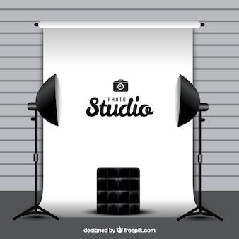 Estúdio fotográfico com fundo branco