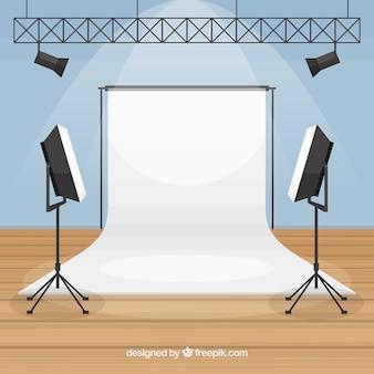 Estúdio fotográfico com luzes