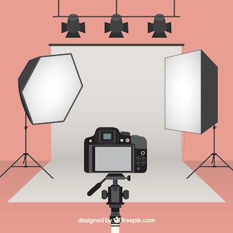 Estúdio fotográfico equipado