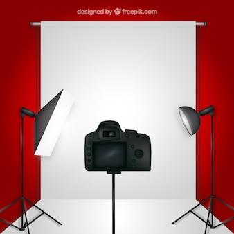 Estúdio fotográfico fundo vermelho