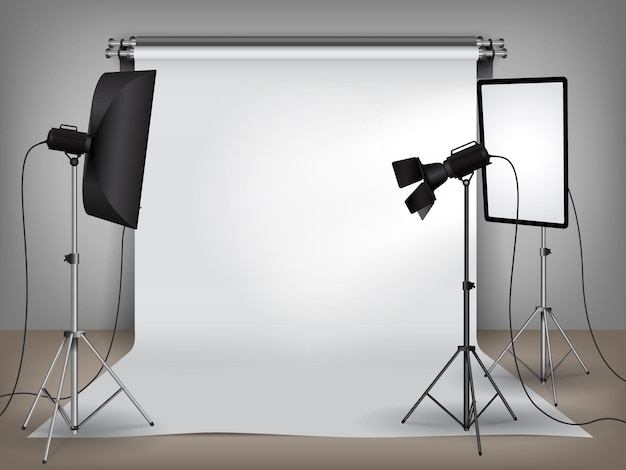 Estúdio fotográfico realista com equipamento de iluminação e fundo branco