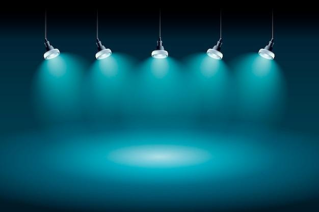 Estúdio futurista de fundo de luzes do ponto