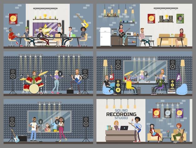 Estúdio interior de gravação de som com as pessoas.