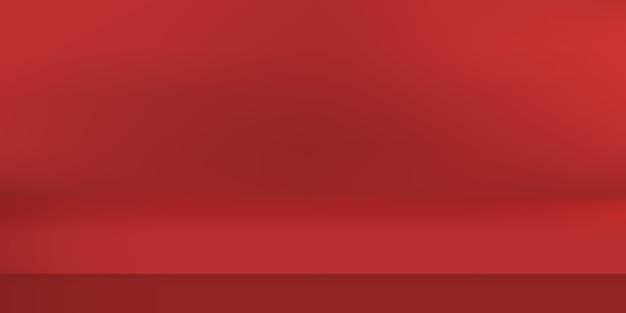 Estúdio vazio de cor vermelha. fundo da sala, exposição do produto com espaço de cópia para a exibição do design de conteúdo. ilustração.