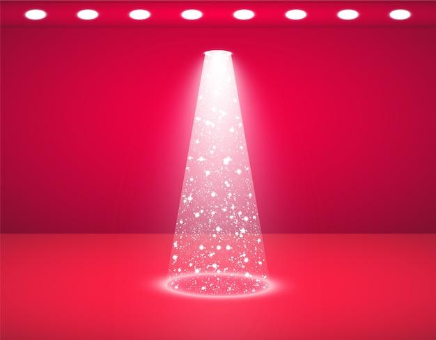 Estúdio vermelho e luzes brilhantes