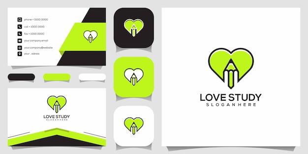 Estudo de amor criativo, coração combinado com modelo de design de logotipo de lápis