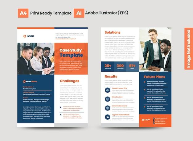 Estudo de caso de negócios ou planilha de marketing e design de folheto