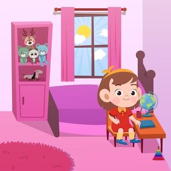 Estudo de criança em ilustração vetorial de quarto